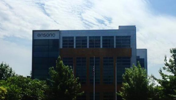 Exterior view of a building with the ensono logo on the outside