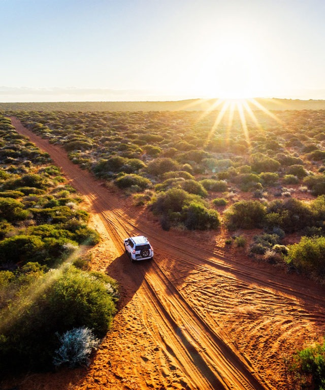 A white car traveling down a dirt road in a desert