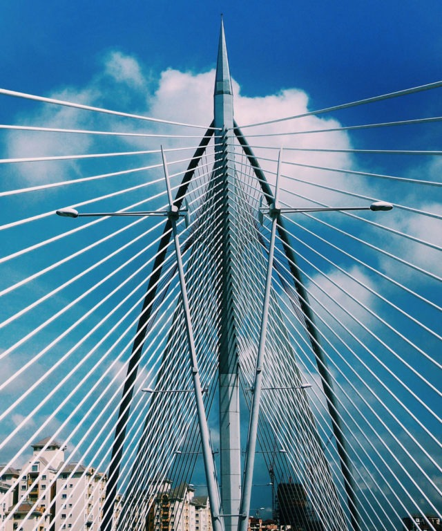Worm's-eye view of the wire structure of a bridge
